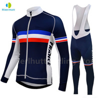 2019 France cycling team blue mens long sleeve cycling jersey Pants sets Spring/autumn racing clothing Pro Cycling Team clothes