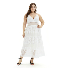 цены Plus Size Lace Dress Women Elegant White Dress Low Cut Backless Sexy Maxi Dress Hollow Out Office Vestidos 2019 Summer Clothes