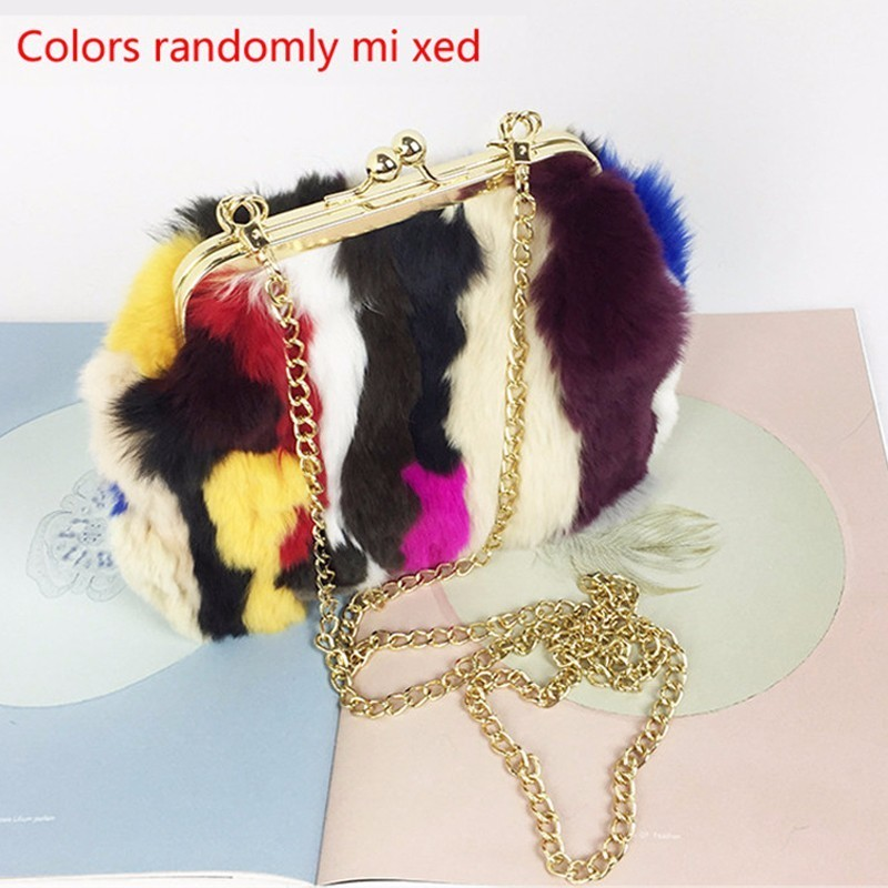 new women handbag rabbit fur shoulder bag Fur Messenger Bags Fashion Solid Female Flap Bags High Quality Ladies Crossbody Bags