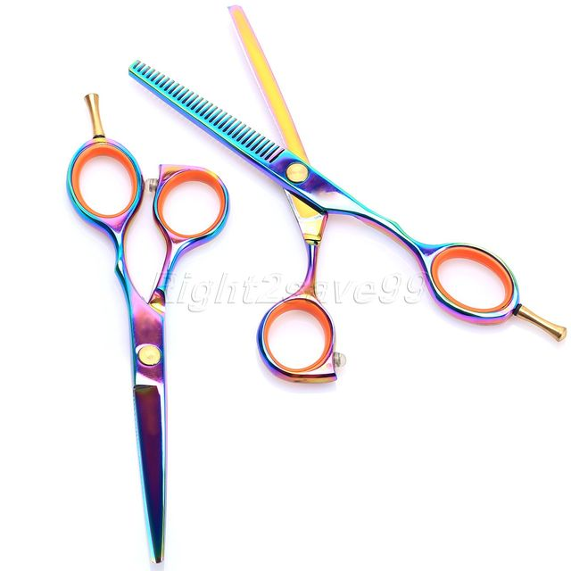 Hot Sale 5.5 Inch Professional Hairdressing Titanium Hairdressing Scissors shears Kit Barber Cutting Thinning Hair Scissors Set