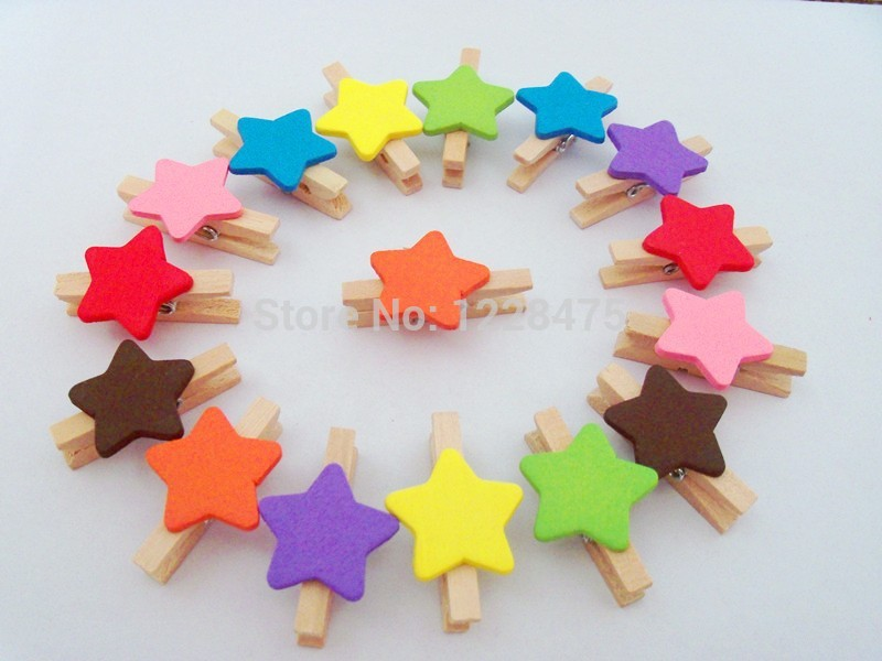 10PCS/lot  New Fashion Cute Special Gift Colors Star  Heart Wooden Clip Mini Bag Clip Paper Clip Wood Pegs