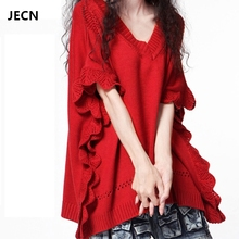 JECN 2017 New Autumn and Winter Christmas Trend Women's Cashmere Sweaters Thick Long V-Neck Batwing Sleeve Loose Openwork Coat(China)