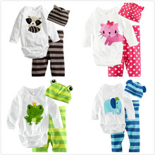 baby romper long sleeve cotton newborn baby clothes baby clothing Animal rompers + hat + pants 3 pieces clothing set new 2016
