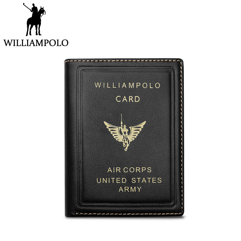 WILLIAMPOLO New Small Wallet Men Genuine Leather Short Purse Vintage Design Air Corps Army Pouch Slim Wallet Black Blue williampolo small wallet zipper purse genuine leather men wallet mini short pouch black brown blue 2018 trendy style