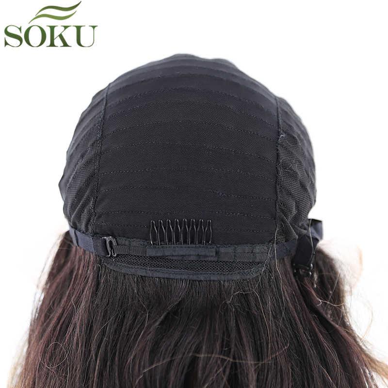 Soku Synthetische Lace Front Pruiken Lange Rechte Haar Lace Pruiken Gratis Deel Preplucked Lijmloze Pruik Hittebestendige Vezel Pruik Voor vrouwen
