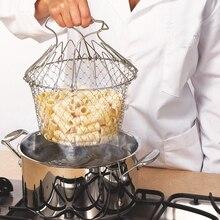 Складная промывка паром деформационная корзина из нержавеющей стали телескопическая складная корзина шеф-повара складная корзина для жарки дуршлаг сетчатый фильтр