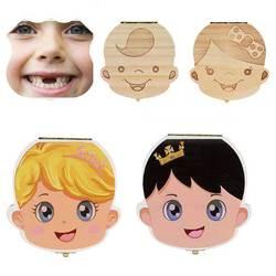 Dutch English Italy Wood Storage Box For Baby Kids Tooth Box Organizer Storage Box For Baby Milk Teeth Collect Organizador Case