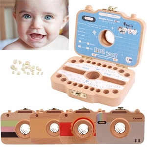 Children Camera Shape Tooth Teeth Storage Box Wooden for Baby Save Milk Teeth Gifts for Infant Kids  Storage  Souvenirs Gift