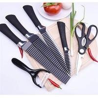 6 pcs/set Stainless Steel Kitchen Knife Set Wave Sharpener Cutting Chef Knife For Fruit Vegetable Meat Cooking Knives Scissors