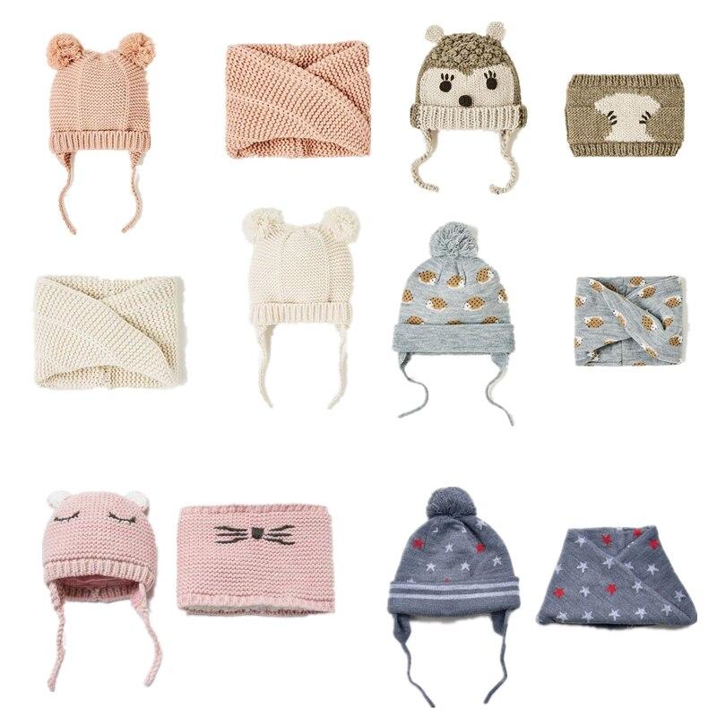Gorro de bebé bonito para niños y bufanda 2 unids/lote gorro de niña de invierno de doble capa de punto caliente sombreros de otoño para niños