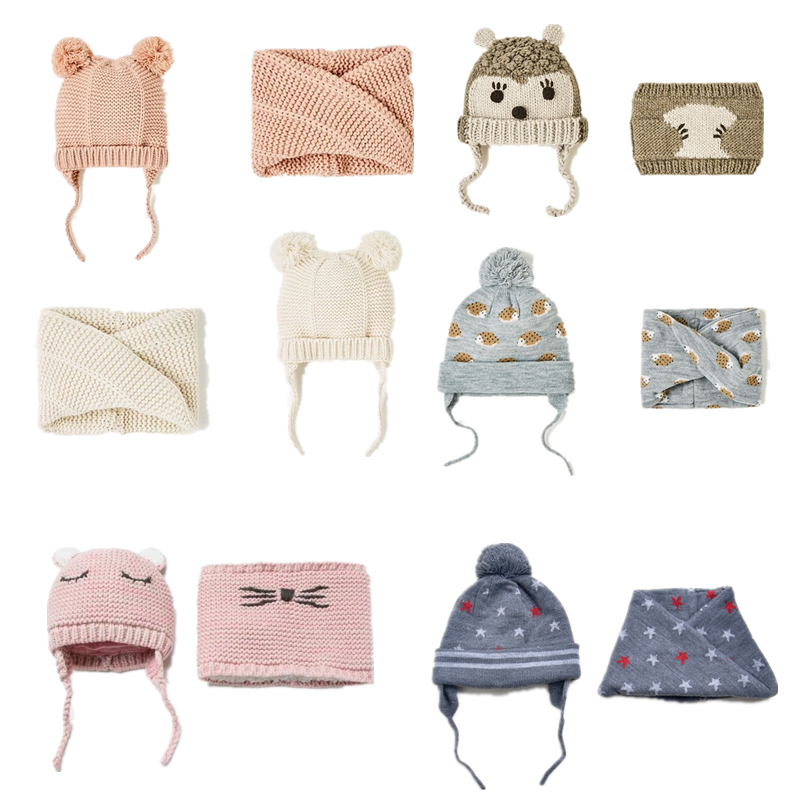 Sombrero del bebé de los niños sombrero y bufanda 2 unids/lote bebé chica sombrero de invierno doble capa de Punto Calientes otoño sombreros para niños