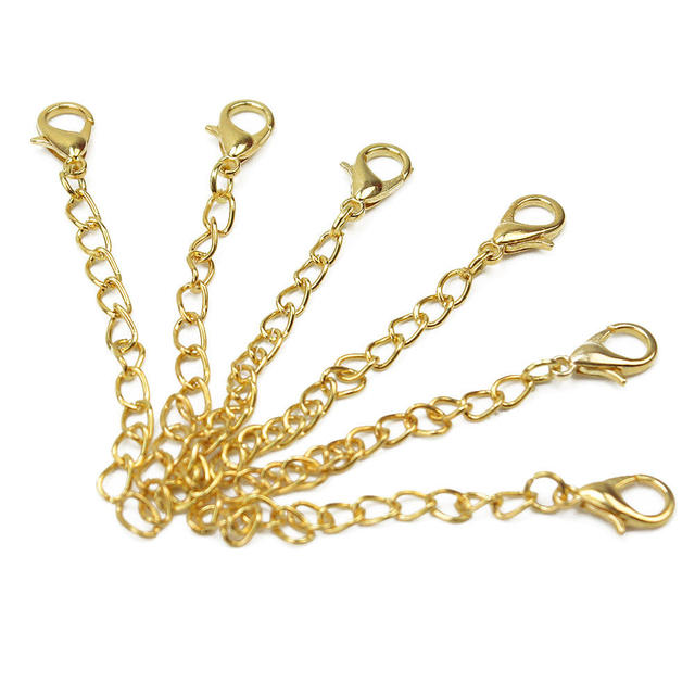 20 Pcs Gold Tone Extension Link Chain Tail Necklace Bracelet Extender Chains Lobster