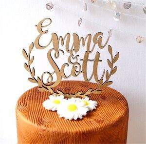 Image 4 - Персонализированные имена, Топпер для свадебного торта, деревянный деревенский Топпер для свадебного торта, акриловый Топпер для торта на заказ