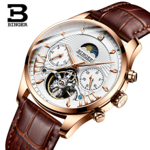купить Binger tourbillon skeleton automatic watches men luxury mechanical men watch leather reloj hombre Moon Phase relogio masculino по цене 4280.42 рублей