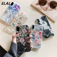 ELALA Flowers Leaf Case For iPhone 7 Case Transparent Epoxy Back Cover For iPhone XR XS Max X 6 6S 7 8 Plus Glitter Phone Cases leaf print iphone case