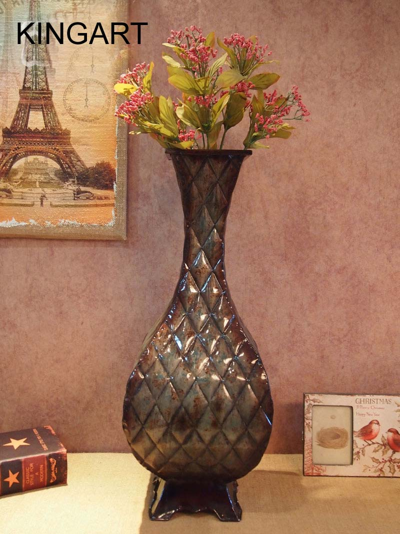 Large floor vase kingart metal tabletop flower vase large for Decoration vase