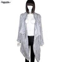 2017 Inverno New Fashion Women Grosso Quente Cony Cabelo Pele De Coelho Casaco de Tricô O-pescoço Clássico Casaco De Pele Elegante Tamanho Personalizado