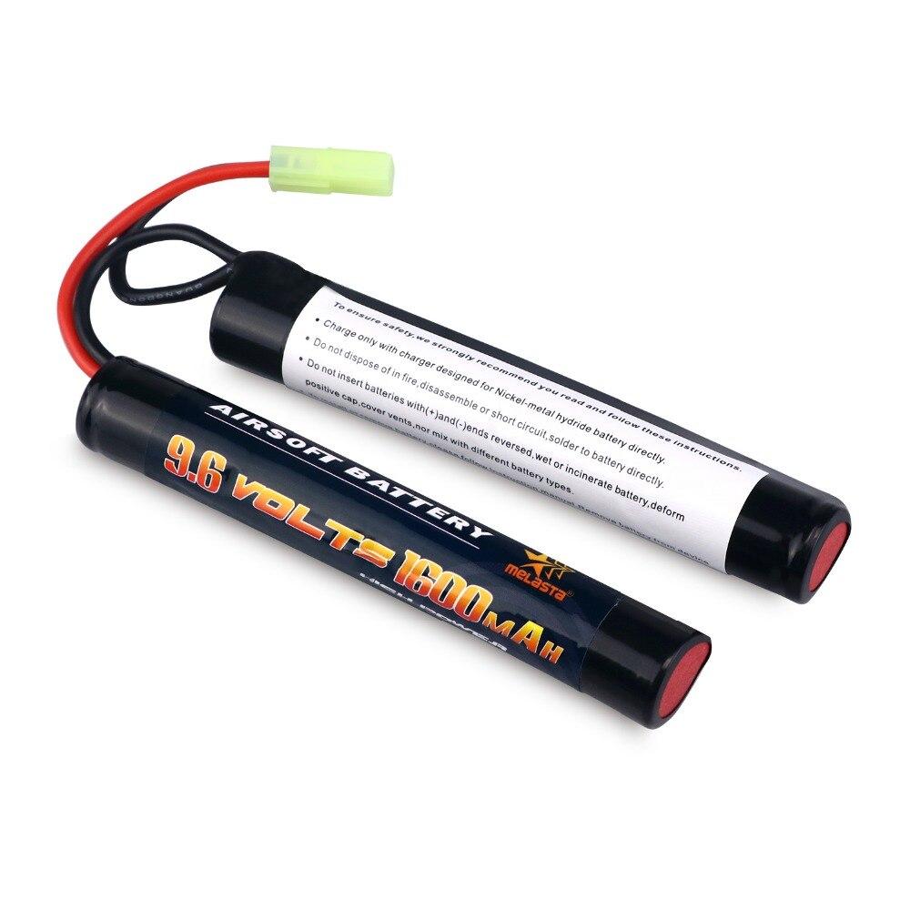 Melasta 9.6 v nimh 1600 mah borboleta mini bateria com mini conector tamiya para armas de airsoft, aeg #11423