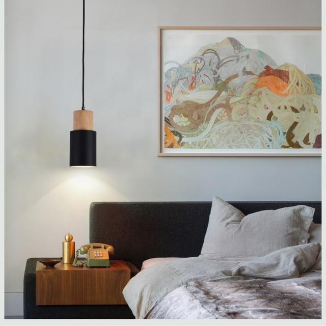 Designer Nordic simple Wood Pendant Lights led hang lamp Colorful Aluminum fixture  Kitchen Island bar hotel home decor E27 5