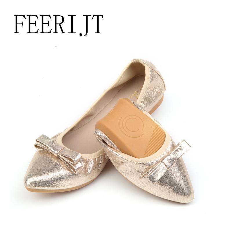 Mujeres en punta de Bowie Tie Ballet Flats Primavera paño de - Zapatos de mujer
