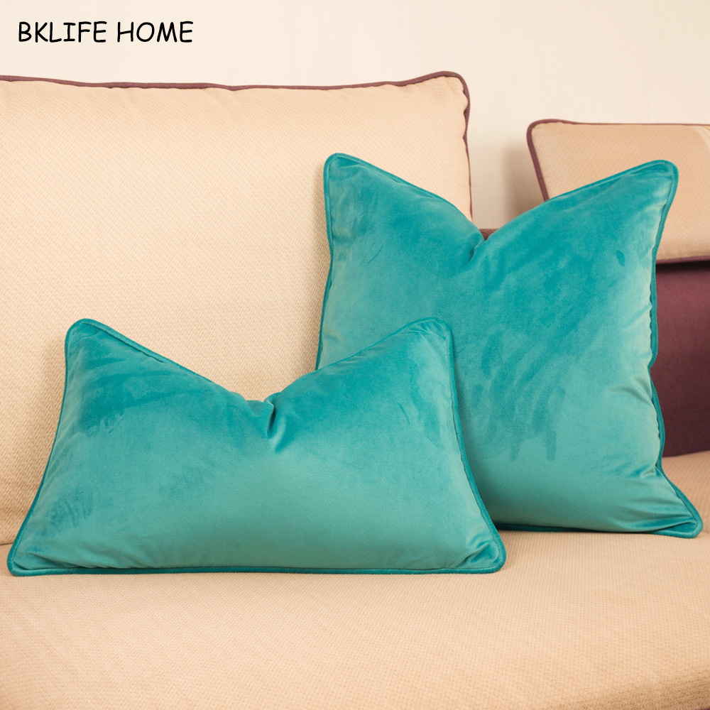 Piping Design Velvet Cushion Cover Cyan Green Pillow Case Chair/Sofa Pillow Cover No Balling-up Home Decorative Without Stuffing