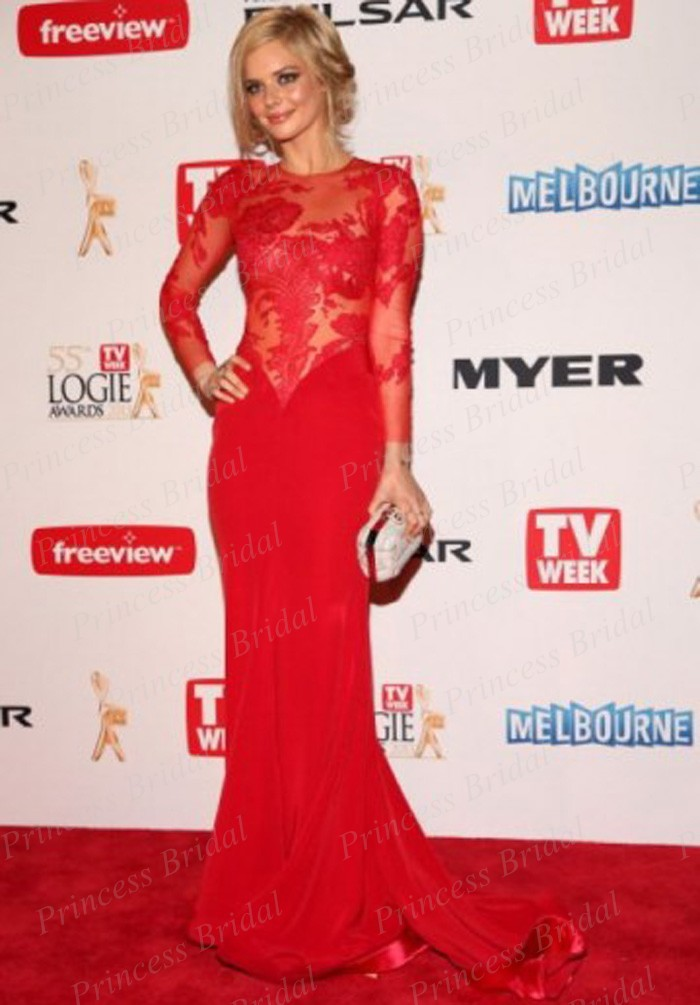 Free Shipping Modern See Through Samara Weaving Red Lace Long-sleeve Celebrity Dress Buy Logies 2017 Red Carpet Gown