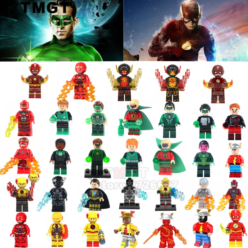 50pcs/lot Wholesale Legoings Friend Green Lantern The Flash Reverse Flash Super Heroes Building Blocks Toys Gift For Children Model Building