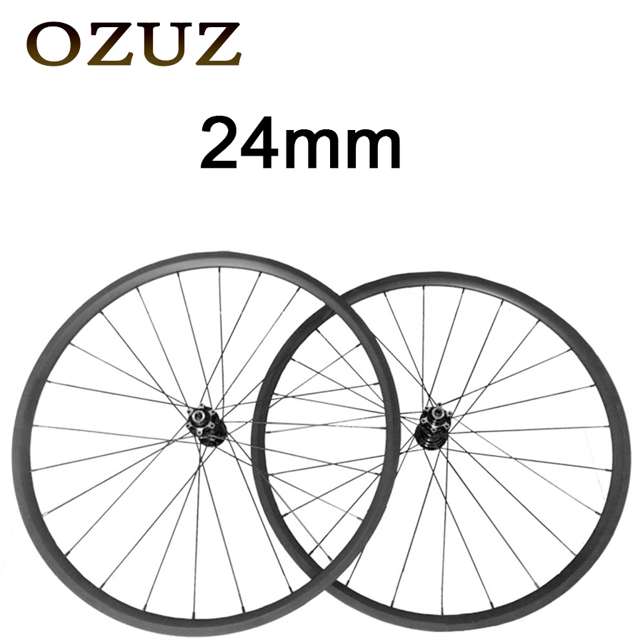 OZUZ 700C 24mm Depth Clincher Tubular 3K Matte Glossy Carbon Wheels Road Bike Bicycle Wheel Cyclocross Disc Wheelset track fixed gear front 38mm rear 50mm depth clincher single speed carbon track wheels road bike bicycle wheel 3k matte or glossy