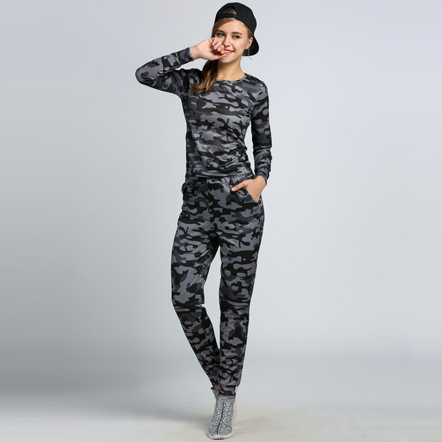 2016 Autumn 2 Piece Set Women Casual Hoodies Set Camouflage Print Tracksuit Women Suits Two Piece Set Moleton Feminina Plus Size