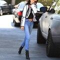 Женщины Классический Щиколоток Джинсы Высокая Талия Карандаш Джинсы Кнопки Fly Sknniy Джинсы femme промывают джинсовые брюки