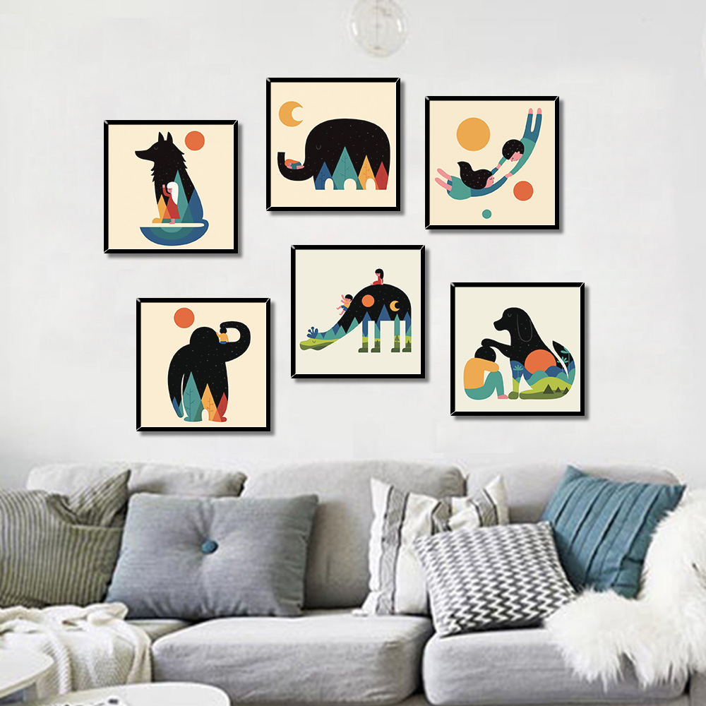 Unframed Canvas Painting Cartoon Animal Humanity Prints Wall Pictures For Living Room Wall Art Decoration 2018 Dropshipping