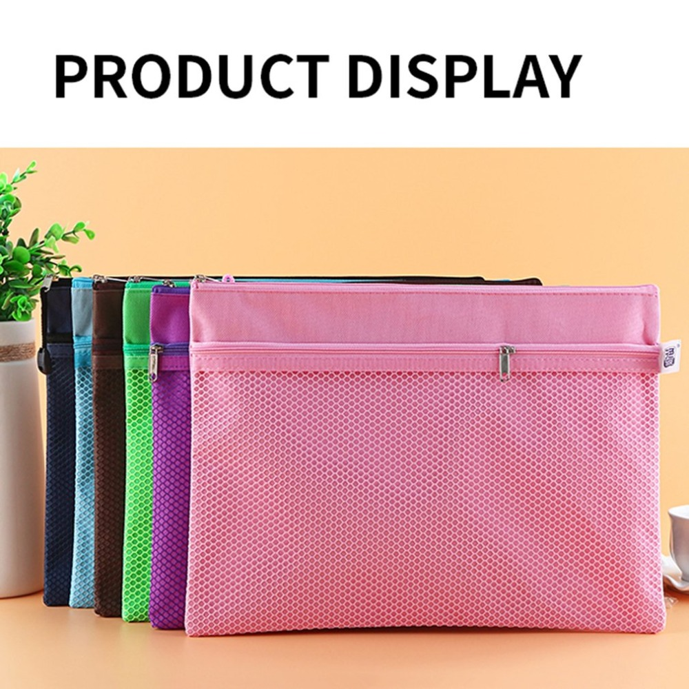 TS-101Folders For A4 Double Layers Waterproof Oxford Cloth Zipper Paper File Documents Folder Bag For A4 Papers Stationery Bag