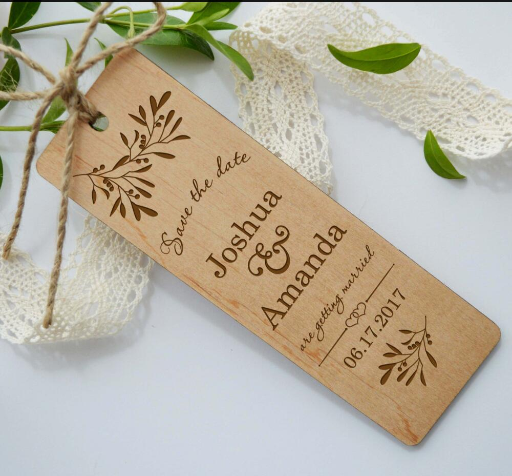 Us 16 14 5 Off Personalized Wedding Bookmarks Wooden Save The Date Bookmark Wood Invitation Rustic Favor In
