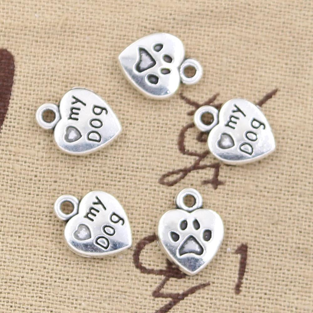 12pcs Charms heart love my dog 13x10mm Antique Making pendant fit,Vintage Tibetan Silver,DIY bracelet necklace