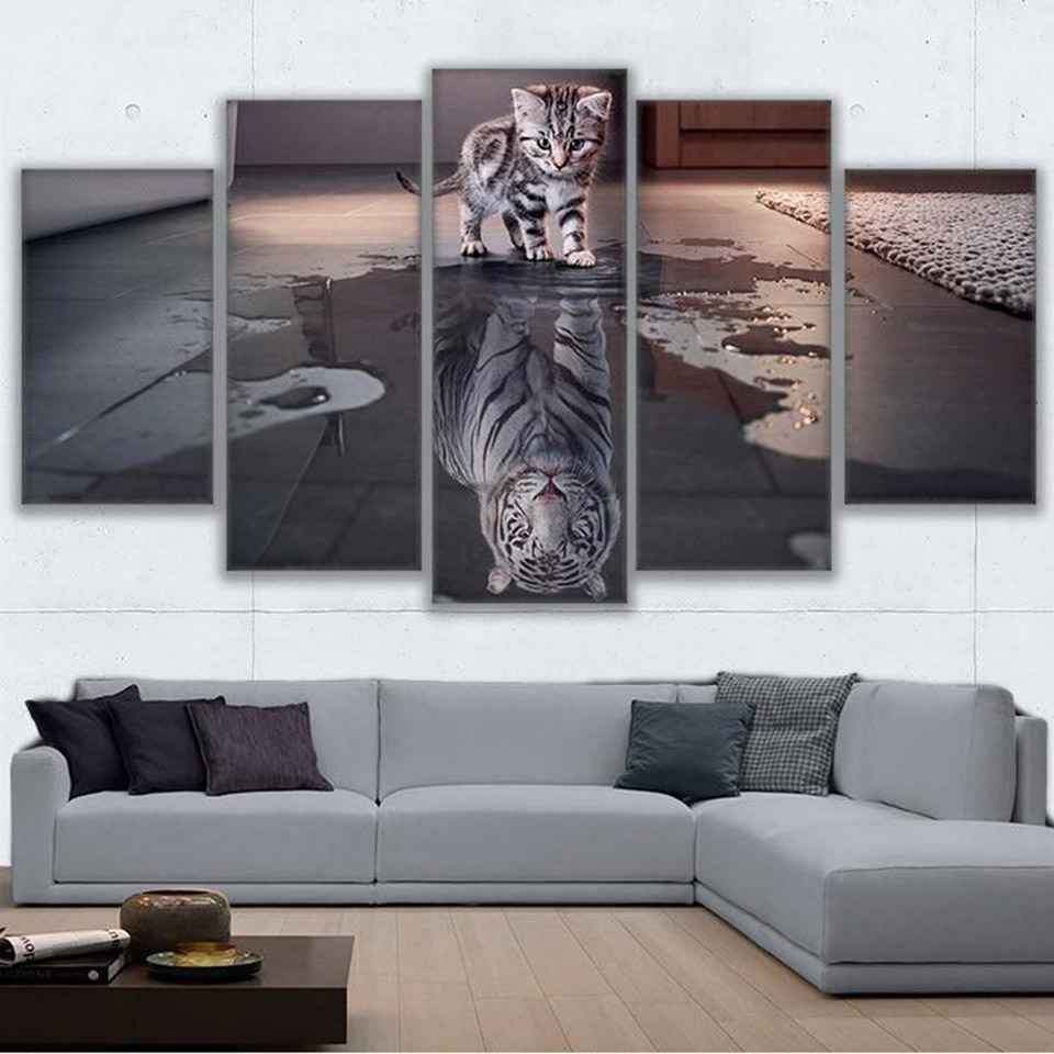 Canvas Painting Wall Art Frame For Living Room Nordic Decoration 5 Panel Animal Cat New Cuadros Tiger Modular Picture Poster