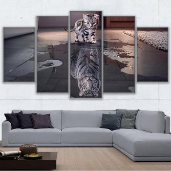 Obraz na płótnie ściana artystyczna rama do salonu dekoracja nordycka 5 Panel zwierząt kot nowy Cuadros tygrys modułowy obraz plakat tanie i dobre opinie YGYT Płótno wydruki Olej Oprawione lustra W połączeniu Klasyczne Canvas Print Painting Malowanie natryskowe Nieregularne