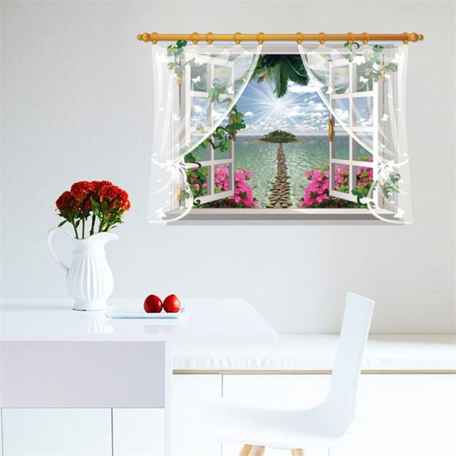 Sunshine Islands Flower Curtain Wall Stickers Bedroom 3d Effect Fake Window Wall  Decals Art Living Room