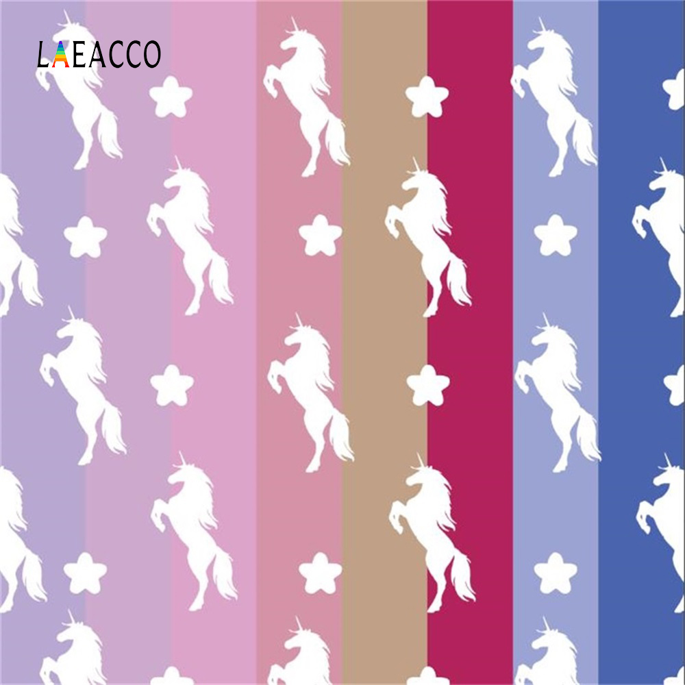 Laeacco Unicorn Party Different Color Stripes Baby Portrait Photo Backgrounds Customized Photographic Backdrops For Studio