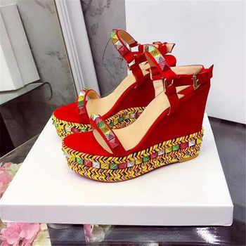 Platform wedge Sandals women candy color rivets studded high heels genuine leather string beaded gladiator summer shoes