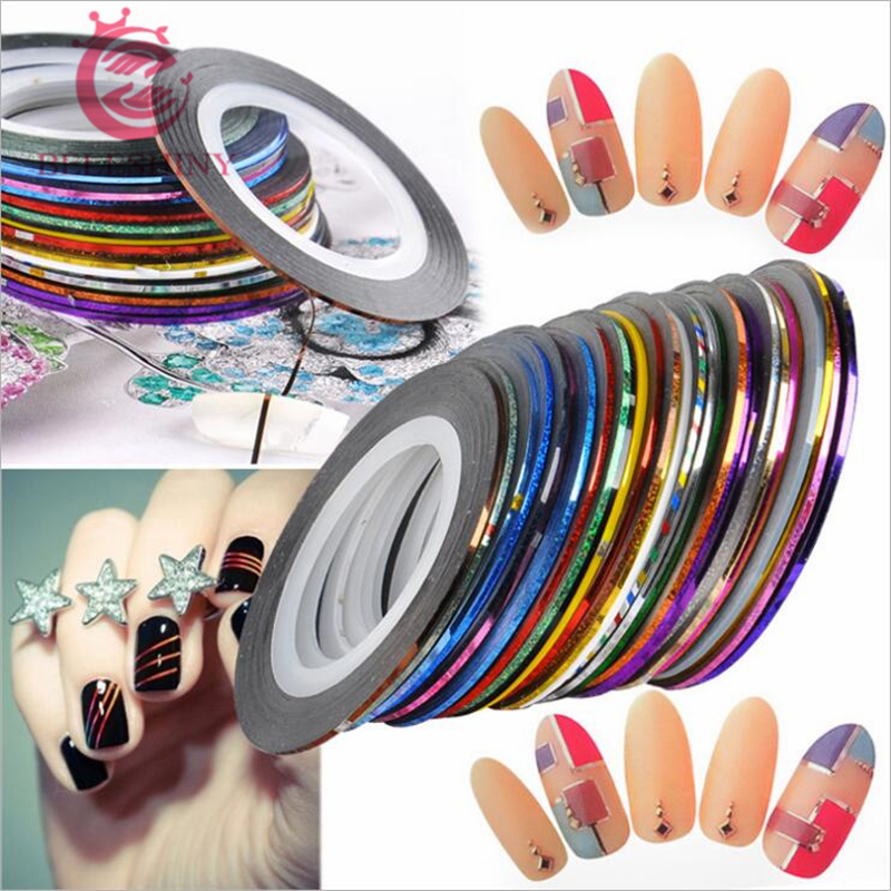 35 Rolls Mixed Color Nail Striping Tape Decal For DIY 3D Variety Nail Art Tips Decorations Nail Line Foil nail Sticker 20pcs lot mixed colors nail rolls striping tape line diy nail art decorations sticker for nails nail stickers