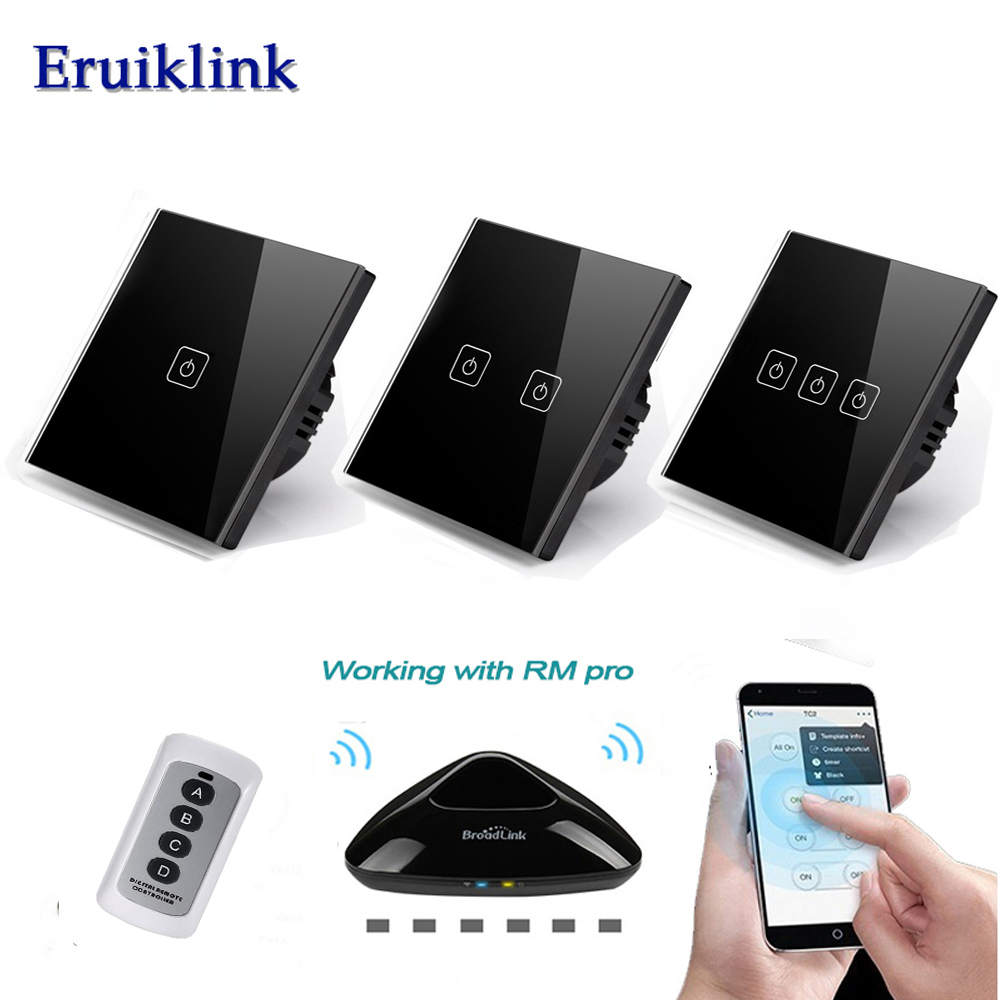 Eruiklink EU/UK Standard 1 2 3 Gang 220V Wireless Remote Control Light Switches, RF433 Remote Touch Wall Switch for Smart Home makegood eu uk standard 1 gang 1 way rf433 remote control touch switch wireless remote control light switches for smart home