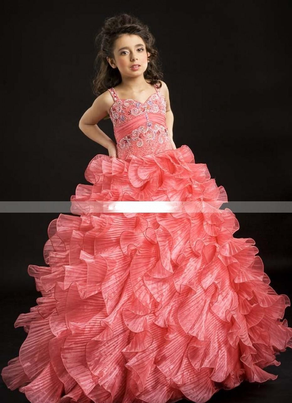 Floral Tiered Heavily Ball Gown Girls Pageant Dresses Beaded Organza ...