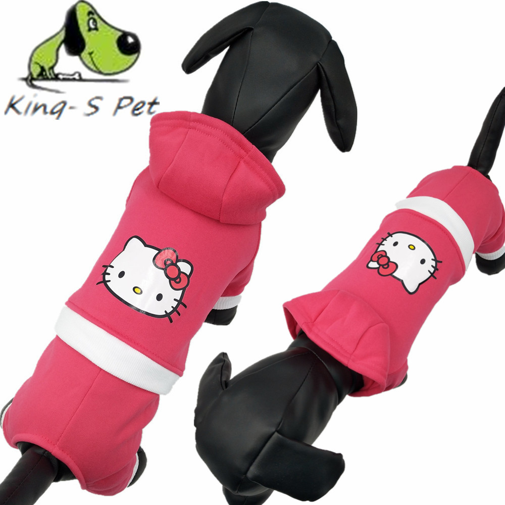 KING-S PET Deporte Sudaderas Con Capucha Para Perros Perros Pink Kitty Cat Escud