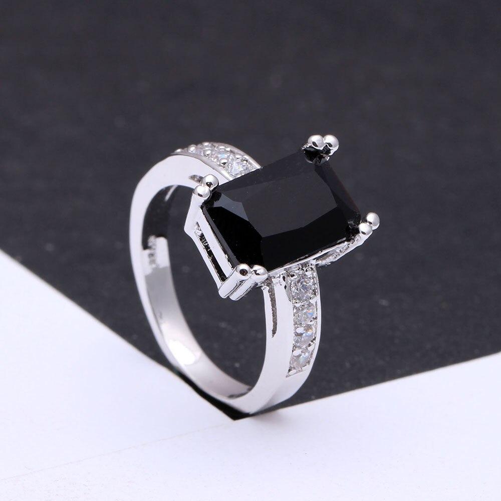 Черный обручальные кольца Размеры 7 8 9 Новый Модные украшения Обручальное квадратный роскошные леди Обручальное CZ Циркон Обещание Кольца