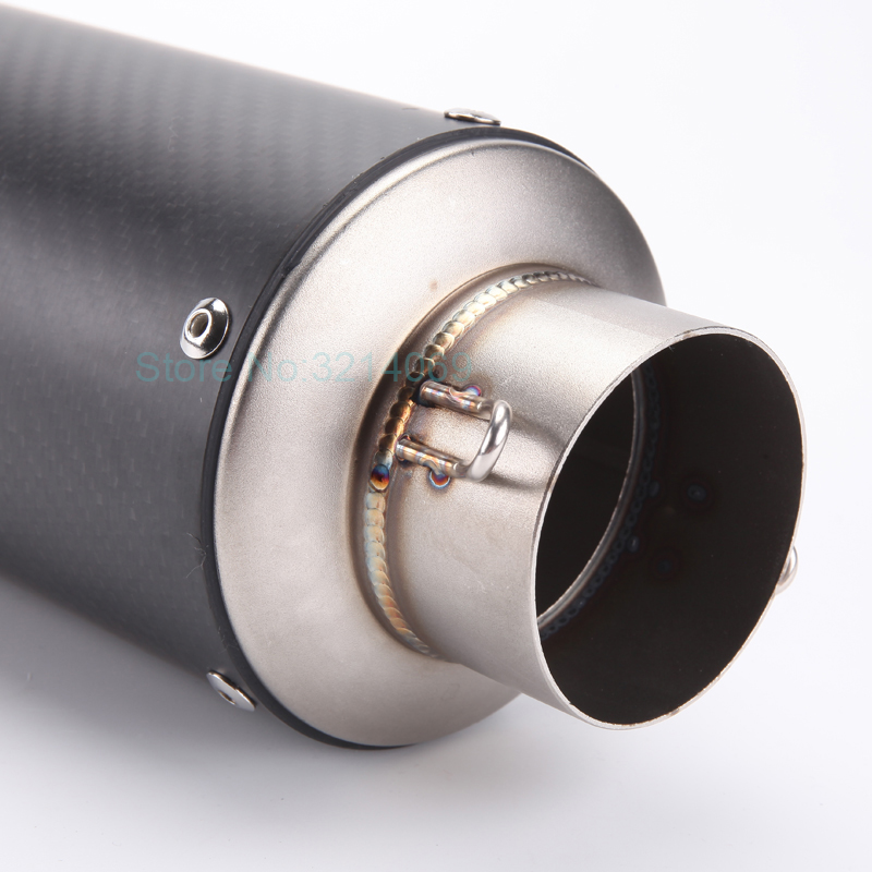 Carbon Fiber Akrapovic Motorcycle Exhaust Pipe Motorbike Muffler Escape with DB Killer Inlet ID:51-60mm Length:250mm