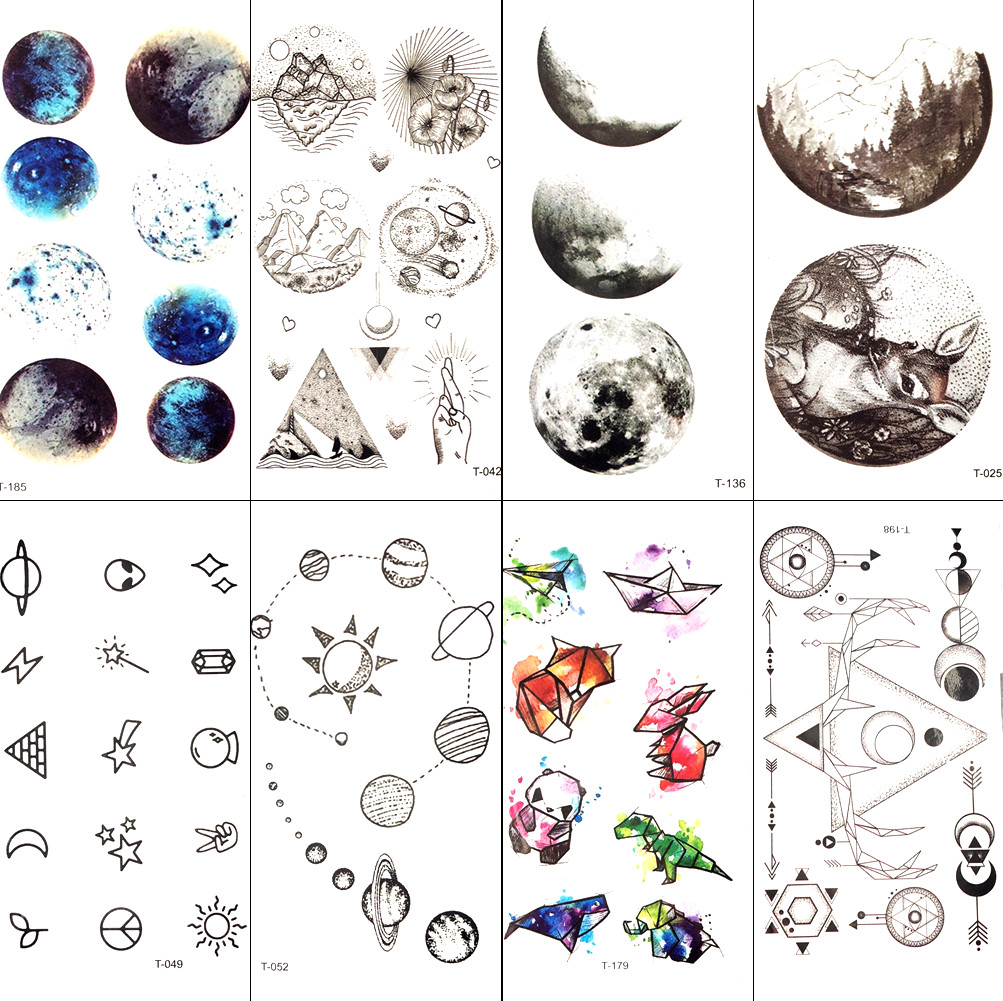 Small Galaxy Stars Moon Temporary Tattoo Sticker Round Earth Women Fake Flash Tatoos Men Body Arm Art Waterproof Tattoo Children