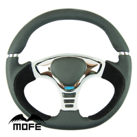 SPECIAL OFFER MOFE Racing Original Logo Black Stitch 14 Inch 350mm Suede Leather Steering Wheel