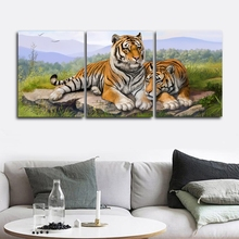 Laeacco Canvas Calligraphy Painting 3 Panel Tiger Wild Animal Posters and Prints Vintage Wall Artworkwork Home Living Room Decor