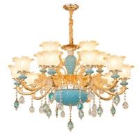 Kryształ światła na wesele wystrój elegancki i nowoczesny żyrandol wejście Foyer żyrandole złoty kryształowy żyrandol oświetlenie niebieski w Żyrandole od Lampy i oświetlenie na