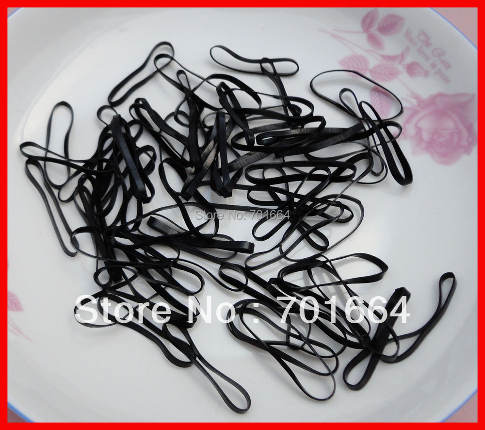 1000PCS 6.0cm length black mini rubber Hairband for Rope Ponytail,black Holder Elastic Hair Band ,Ties Braids Plaits